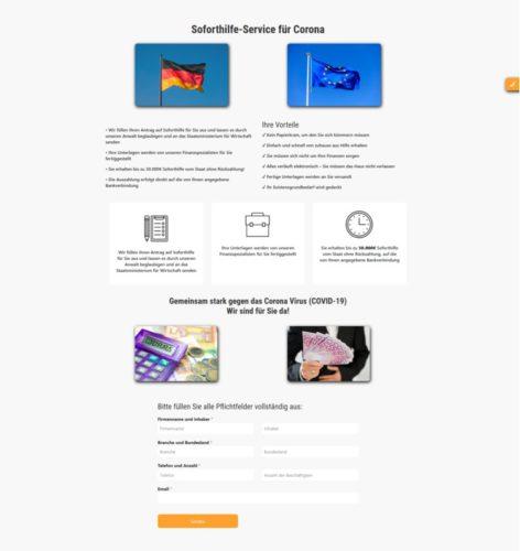 Zu sehen ist ein Screenshot der Webseite soforthilfe-fur-corona.de, mit der Kriminelle den Betrug mit Coronavirus-Soforthilfe versuchen. Bild: Screenshot