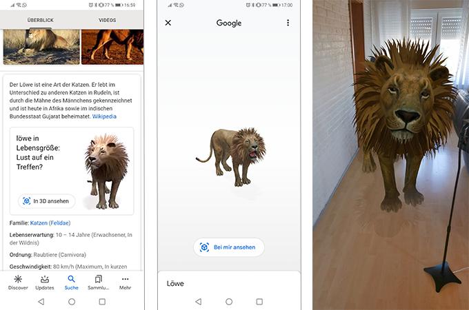 Zu sehen sind drei Screenshots, mit denen der Löwe als eines der Google-3D-Tiere ins Wohnzimmer geholt wird. Bild: PC-SPEZIALIST