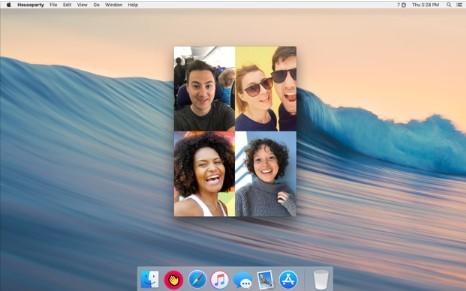 Zu sehen ist ein Mac-Desktop mit einem Houseparty-Videocall. Bild: Screenshot Houseparty