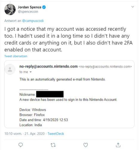 Zu sehen ist der Screenshot eines Twitter-Posts, indem jemand berichtet, dass sein Nintendo-Switch-Account gehackt worden ist. Bild: Screenshot Twitter