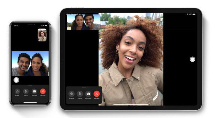 Zu sehen sind ein iPhone und ein iPad. Auf beiden läuft ein Videocall über FaceTime. Bild: Screenshot Facetime