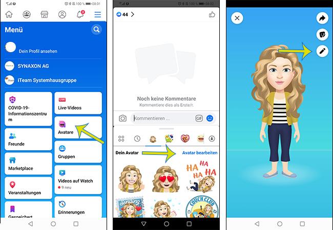 Zu sehen sind Screenshots aus Facebook, die zeigen, wie man den Facebook-Avatar verändern kann. Bild: PC-SPEZIALIST