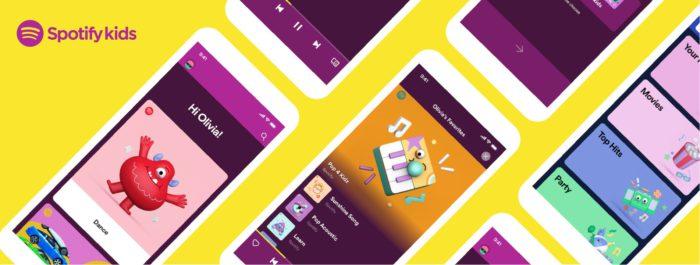 Zu sehen ist eine Grafik mit Smartphone-Displays, auf denen Spotify Kids Beta aufgerufen ist. Bild: Screenshot Spotify