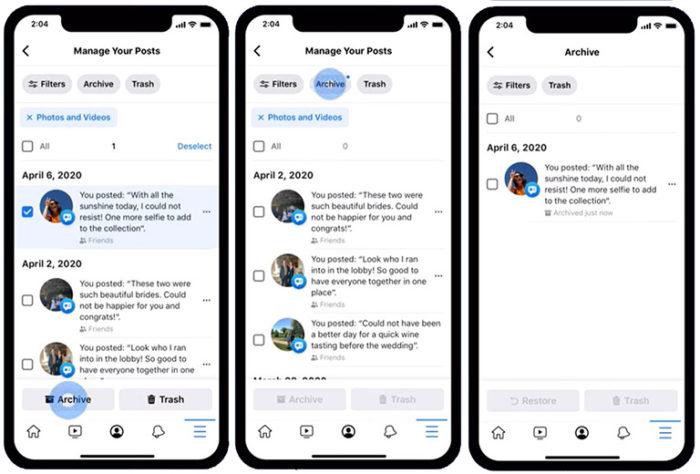 Zu sehen sind drei Screenshots aus dem Facebook-Aktivitätenprotokoll. Bild: Screenshots Facebook