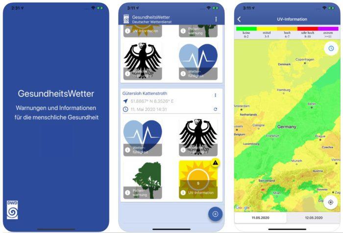 Zu sehen ist ein Screenshot der GesundheitsWetter-App aus Apples Appstore. Bild: Screenshot Apple Appstore