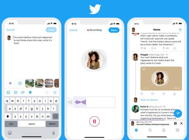 Zu sehen sind drei Smartphone mit den Schritten zum Erstellen eines Voice-Tweets. Bild: Screenshot Twitter
