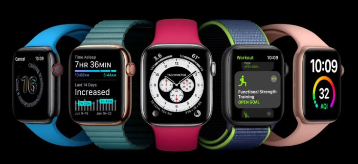 Zu sehen sind verschiedene Modelle der Apple Watch mit Ansichten neuer Funktionen von watchOs. Diese wurden bei der WWDC 2020 vorgestellt. Bild: Screenshot Apple
