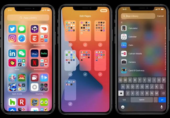 Zu sehen sind Screenshots von drei iPhone-Bildschirmen, auf denen die App Library zu sehen ist. Sie wurde bei der WWDC 2020 vorgestellt. Bild: Screenshots Apple