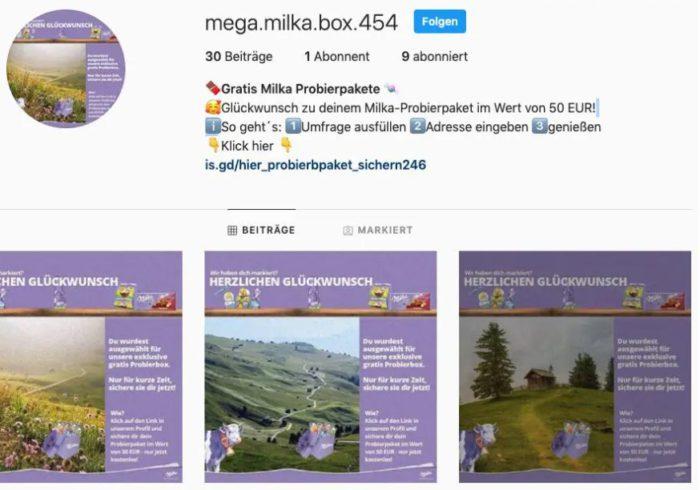 Screenshot des Instagram-Gewinnspiel, bei dem es nichts zu gewinnen gibt.