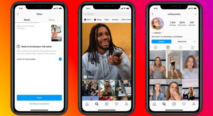 Zu sehen sind drei Smartphone-Bildschirme, auf denen Insta-Reels zu sehen sind. Bild: Instagram