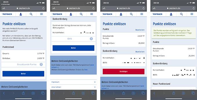 Vier Screenshots zeigen Schritt für Schritt, wie man sich Payback-Punkte auszahlen lassen kann. Bild: PC-SPEZIALIST