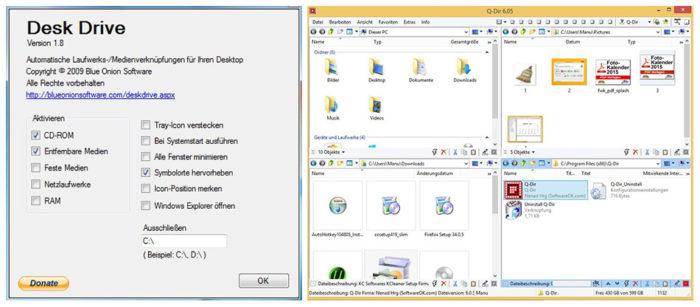 Windows-Tools: Sceenshots von Desk Drive und Q Dir. Bild: Screenshot/Montage: PC-SPEZIALIST