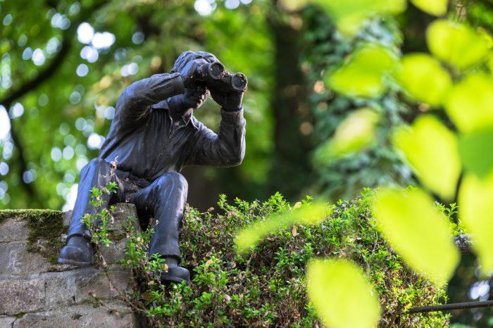 Handy überwachen: Sitzende Statue mit Fernglas auf einer Mauer im Grünen. Bild: Pixabay