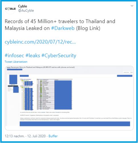 Persönliche Daten: Scrreentshot des Twitter-Tweets über den Datenklau. Bild: Screenshot