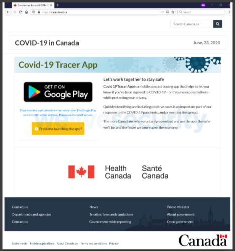 Verschlüsselung droht: Webseite der Seite, die angeblich die kanadische Corona-Warn-App anbietet. Bild: Screenshot
