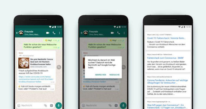 Zu sehen sind drei Smartphones, auf denen Schritt für Schritt der Faktencheck bei WhatsApp demonstriert wird. Bild: WhatsApp