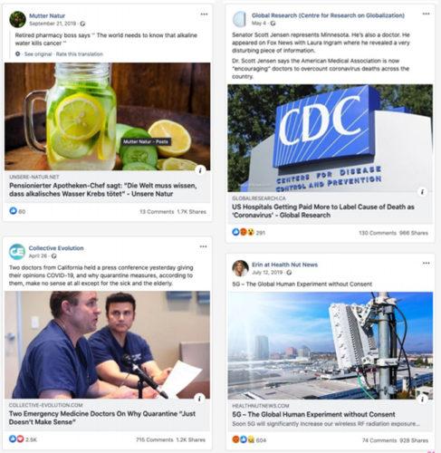 Zu sehen sind vier Facebook-Posts mit medizinischen Fake-News zu Covid-19. Bild: AVAAZ/Montage PC-SPEZIALIST