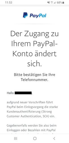 SCA: Screenshot einer E-Mail von PayPal. Bild: Screenshot PC-SPEZIALIST