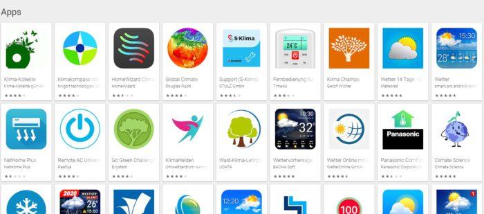 Screenshot der Klima-App im App Store von Google.