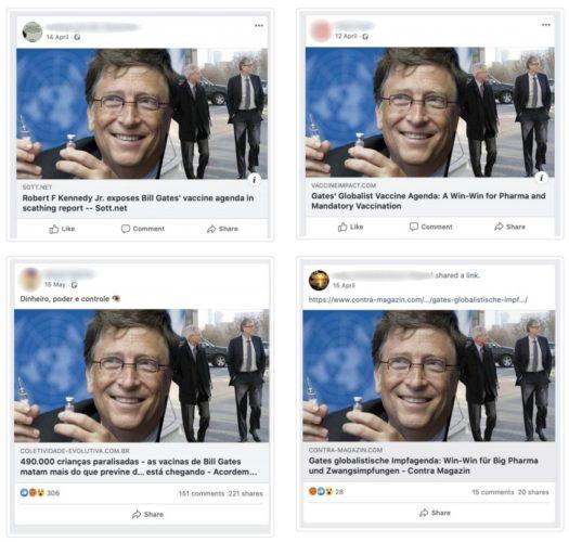 Zu sehen sind vier Beiträge, die eine medizinische Fake-News und ihre Verbreitung zeigen. Bild: Avaaz