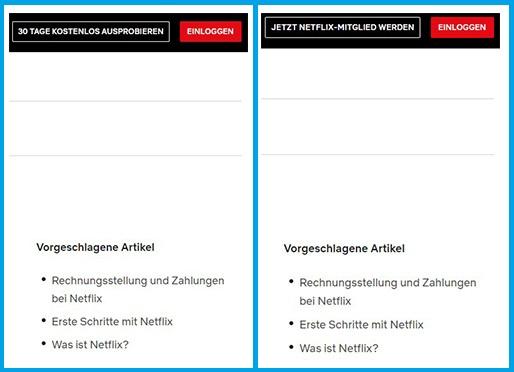 Netflix kostenlos testen: Screenshots mit sich verändernden Button der Netflix-Seite. Bild: Screenshots Netflix/Montage PC-SPEZIALIST.