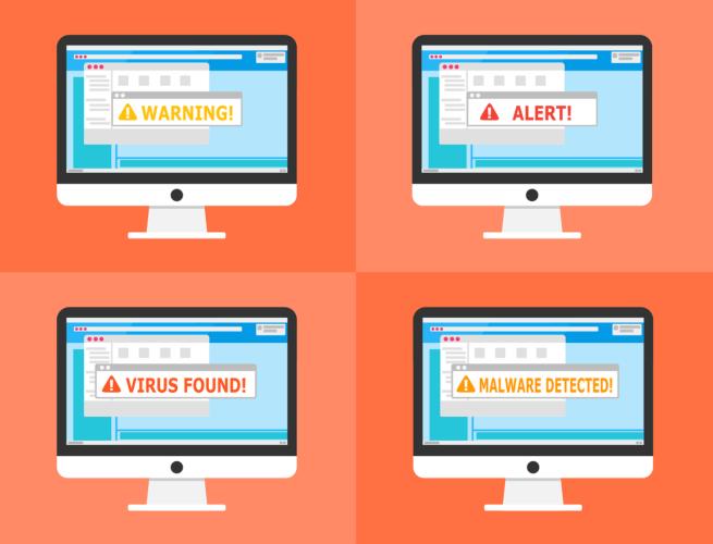 Sicherheits-Apps. Vier Computer mit einer Virenmeldung. Bild: Pixabay