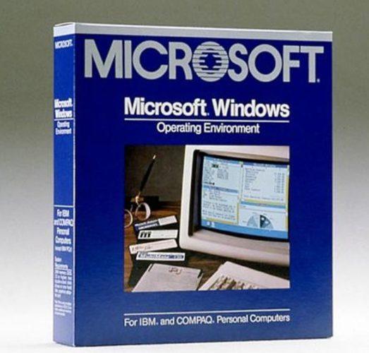Abbildung der Verkaufspackung von Windows 1.0. Bild: © Microsoft