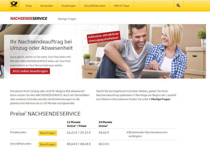 Screenshot der Website Deutsche Post mit dem Service es Post nachsenden. Bild: Screenshot