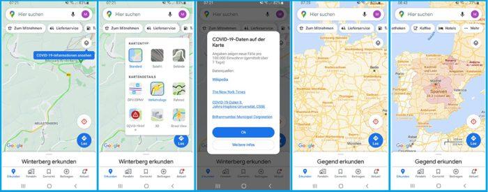 Screenshots von Google Maps zur COVID-19-Verbreitung. Bild: Screenshots/Montage PC-SPEZIALIST
