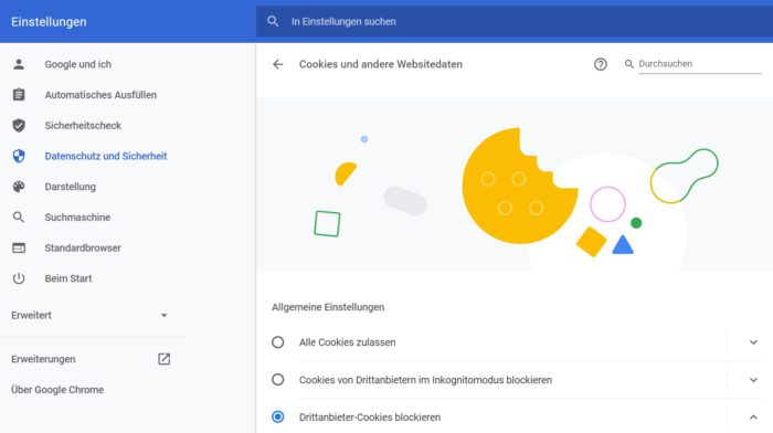 Chrome Cookies löschen: Screenshot der Einstellungen des Chrome-Browsers.