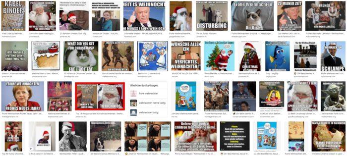 Weihnachtssticker: Screenshot von Google zu Weihnachts-Memes. Bild: Screenshot Google
