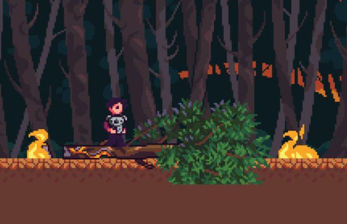 Screenshot 2020 Game: Spielfigur steht auf umgekippten Baumstamm mit Koala auf dem Arm.