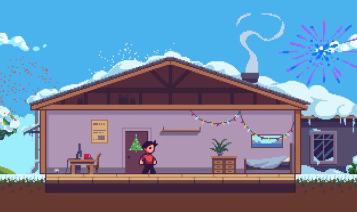 2020 Game: Screenshot wie die Spielfigur Weihnachten und Silvester alleine zu Hause ist.