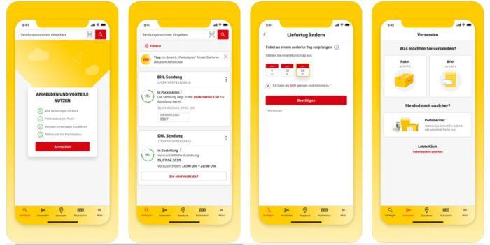 Screenshot Play Store mit Display-Darstellungen der DHL-App.