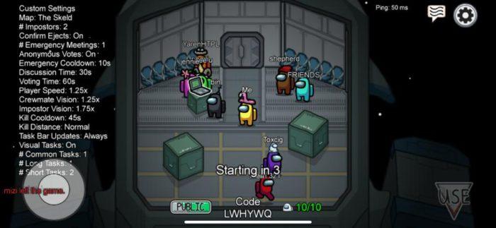 Die Mitspieler versammeln sich und warten auf den Start des Spiels. Wer ist Crewmate, wer Imposter? Noch weiß es niemand. Bild: PC-SPEZIALIST