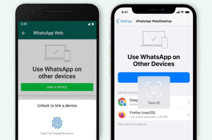 WhatsApp-Anmeldung bei WhatsApp per biometrischer Daten. Bild: © WhatsApp