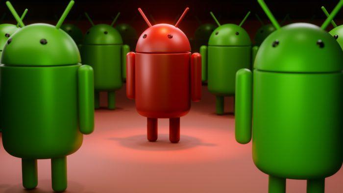 Paketankündigung, Gefahr für Android: Viele grüne Androiden, ein roter Android. Bild: Pixabay