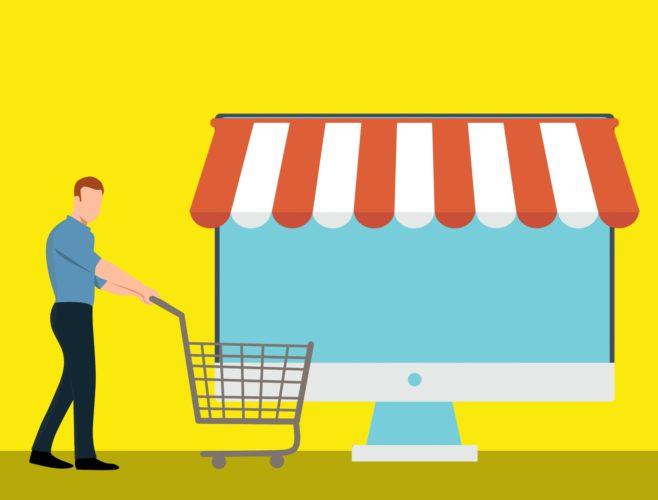 Darstellung eines Computer-Monitors als Geschäft, davor ein Mann, der einen EInkaufswagen schiebt. Bild: Pixabay