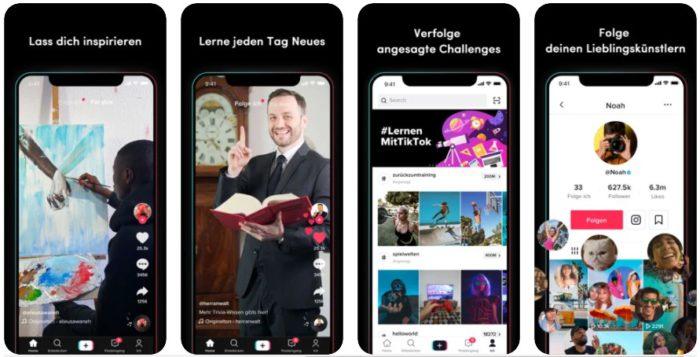 TikTok-Filter: Screenshot AppStore zeigt mehrere Displays mit TikTok-Darstellungen.
