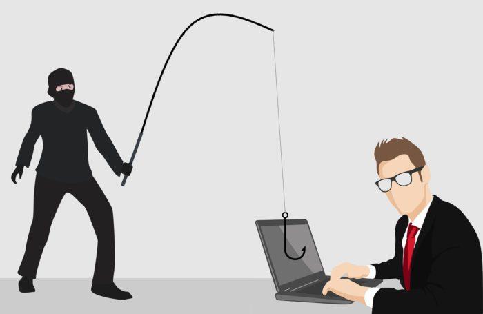 Microsoft Planner: Grafik, Mann im Anzug vor Laptop, schwarzer Mann mit Angel angelt Daten. Bild: Pixabay