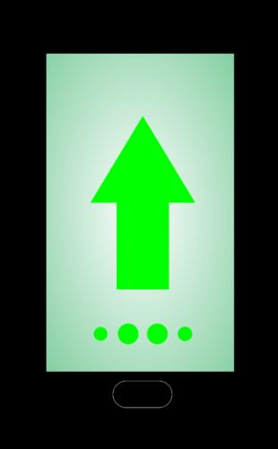 Android 12: Handy, Bildschirm, Pfeil nach oben. Bild: Pixabay