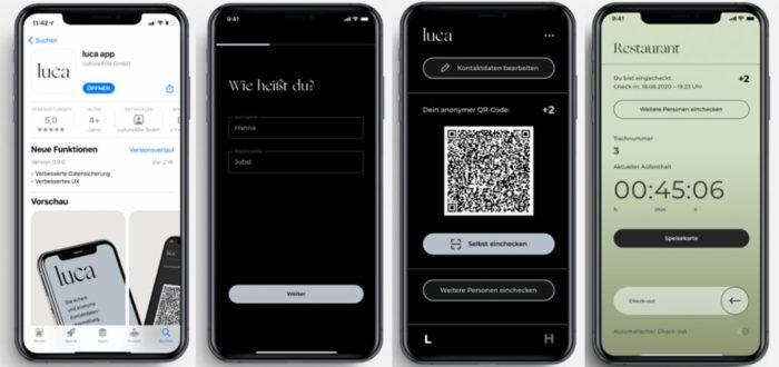 Vier Handy-Screenshots mit Luca-App. Bild: Screenshots luca-app.de/Montage. PC-SPEZIALIST