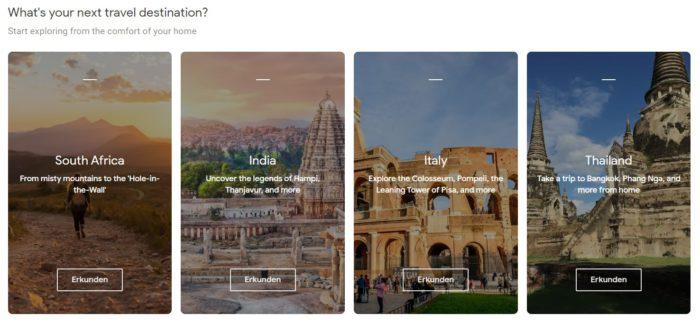 Screenshot der Webseite Google Arts & Culture zeigt ferne Urlaubsziele, die man erkunden kann. Bild ©Arts & Culture by Google