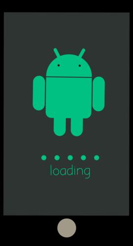 Handy mit Android-Figur auf Display und Ladevorgang eines Updates. Bild: Pixabay