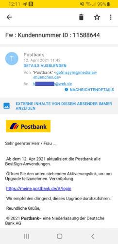 Screenshot einer E-Mail. Thema: BestSign der Postbank. Bild: Screenshot PC-SPEZIALIST