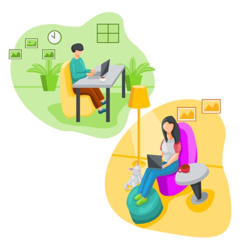 Was ist VPN? Zwei grafische Darstellungen von Personen im Home Office. Bild: Pixabay