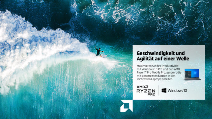 AMD Ryzen™: Draufsicht auf einen Surfer auf hohen Wellen. Bild: ©AMD