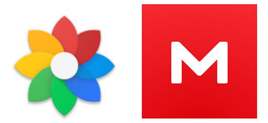 Google-Fotos-Alternative: Logos von Floral und Mega. Bild: Screenshots Google Play Store/Montage: PC-SPEZIALIST