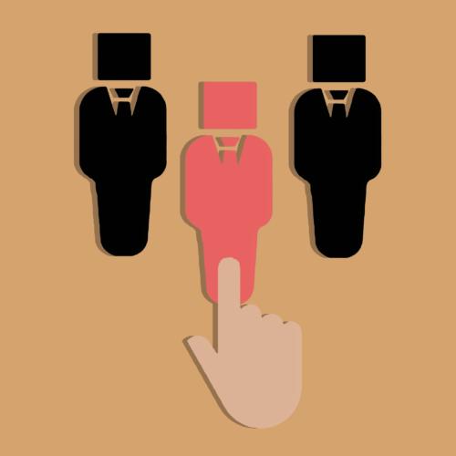 Klarna-Datenleck. Drei gezeichneten Männchen in schwarz und rot. Ein Finger wählt aus. Bild: Pixabay
