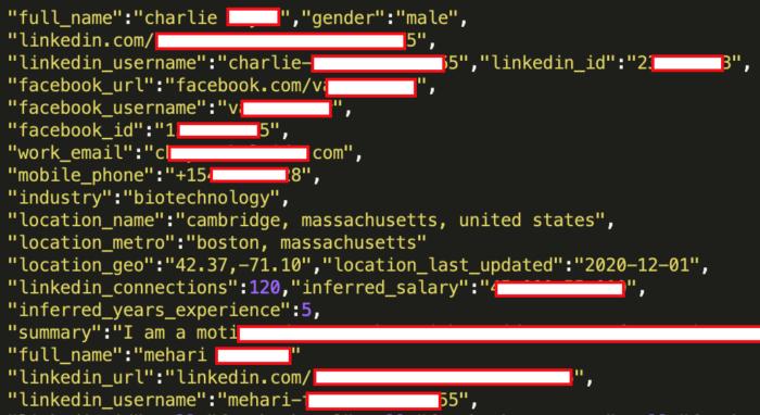 Datensatz aus LinkedIn-Hack